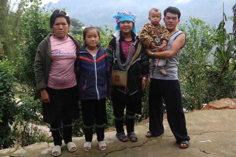 Ma famille d'accueil pour une nuit dans les alentours de Sapa, au Vietnam.